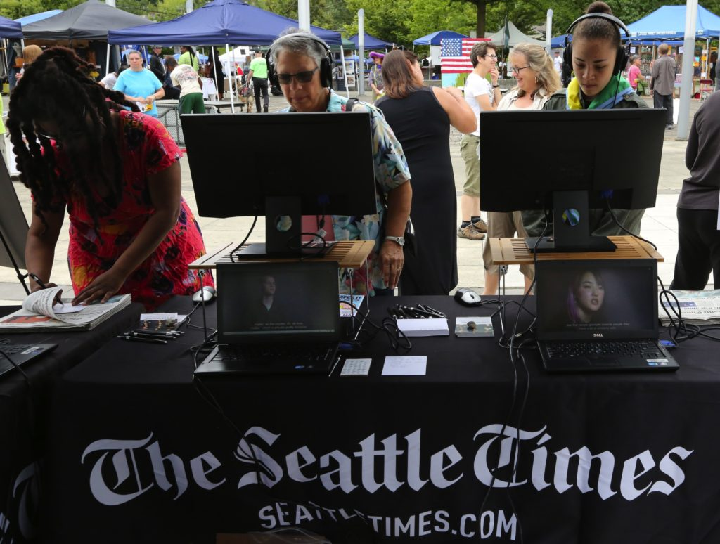 "The Seattle Times ""Under Our Skin"" interactive booth at BAAMFest at the Rainier Beach Community Center on Saturday, July 23, 2016 LO"